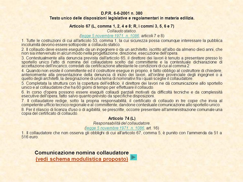 Comunicazione nomina collaudatore (vedi schema modulistica proposto)