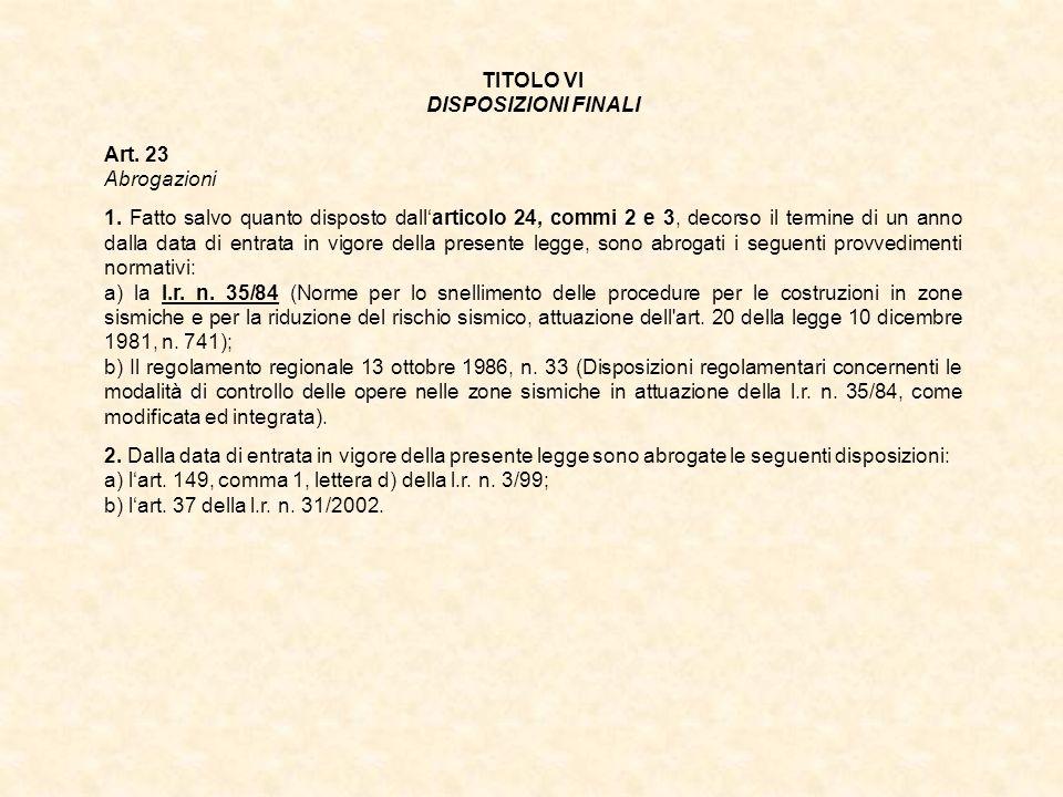 TITOLO VI DISPOSIZIONI FINALI. Art. 23. Abrogazioni.