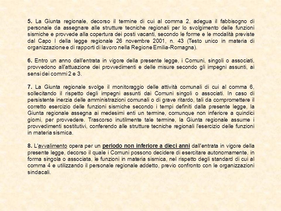 5. La Giunta regionale, decorso il termine di cui al comma 2, adegua il fabbisogno di personale da assegnare alle strutture tecniche regionali per lo svolgimento delle funzioni sismiche e provvede alla copertura dei posti vacanti, secondo le forme e le modalità previste dal Capo I della legge regionale 26 novembre 2001, n. 43 (Testo unico in materia di organizzazione e di rapporti di lavoro nella Regione Emilia-Romagna).