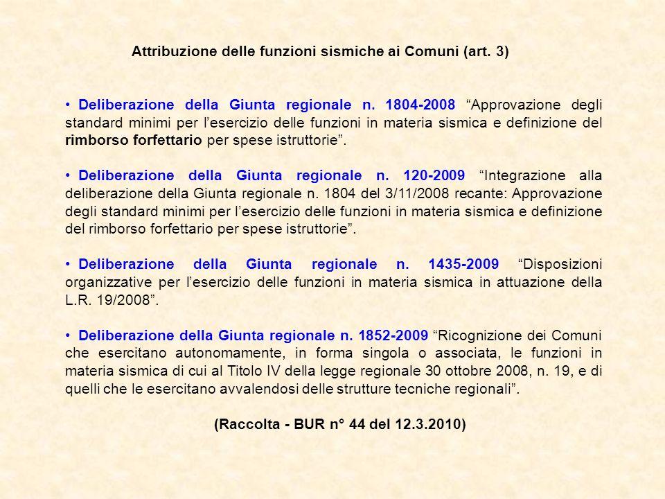 Attribuzione delle funzioni sismiche ai Comuni (art. 3)