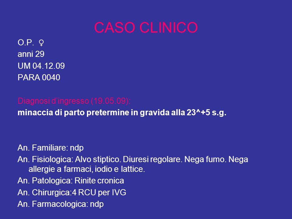CASO CLINICO O.P. ♀ anni 29 UM 04.12.09 PARA 0040