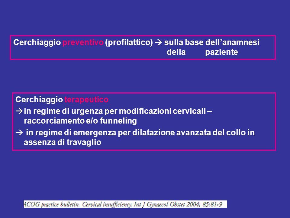 Cerchiaggio preventivo (profilattico)  sulla base dell'anamnesi della paziente