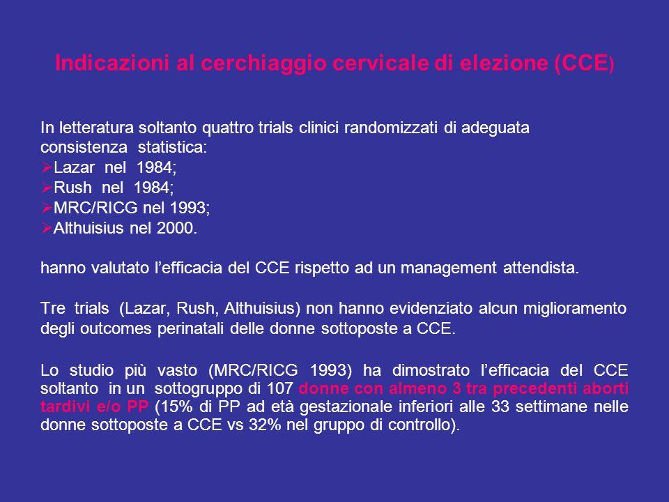 Indicazioni al cerchiaggio cervicale di elezione (CCE)