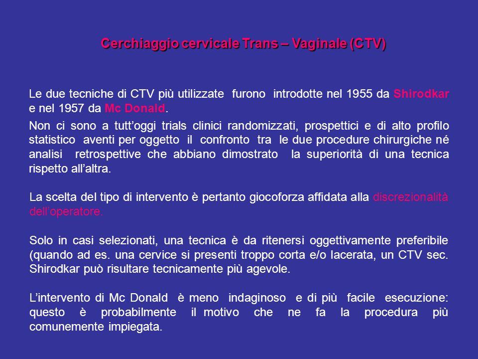 Cerchiaggio cervicale Trans – Vaginale (CTV)