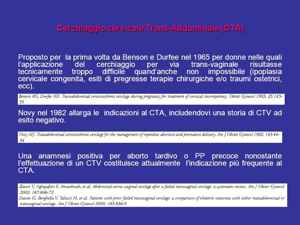 Cerchiaggio cervicale Trans-Addominale (CTA)