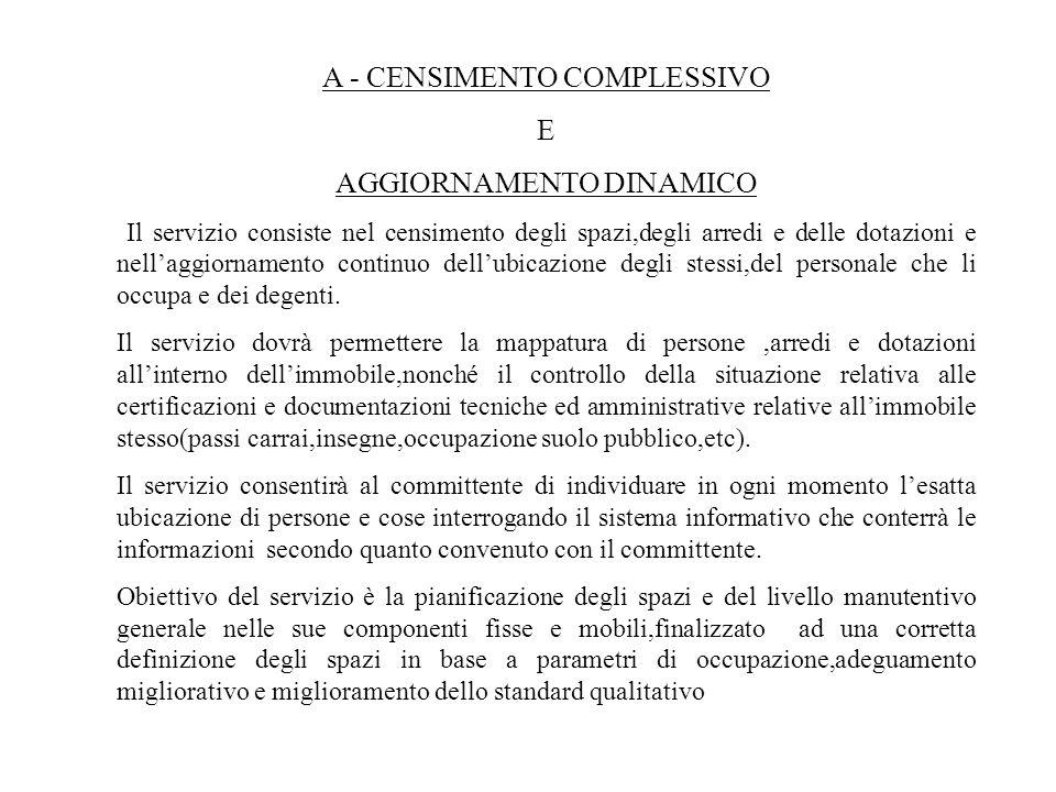 A - CENSIMENTO COMPLESSIVO E AGGIORNAMENTO DINAMICO