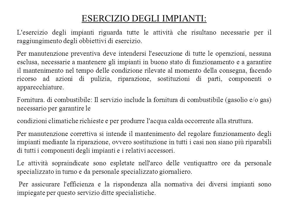 ESERCIZIO DEGLI IMPIANTI: