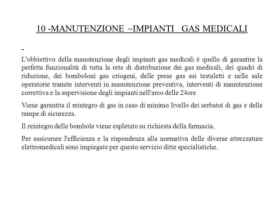 10 ‑MANUTENZIONE ~IMPIANTI GAS MEDICALI