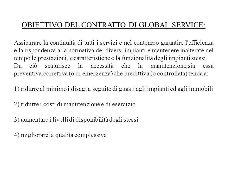 OBIETTIVO DEL CONTRATTO DI GLOBAL SERVICE: