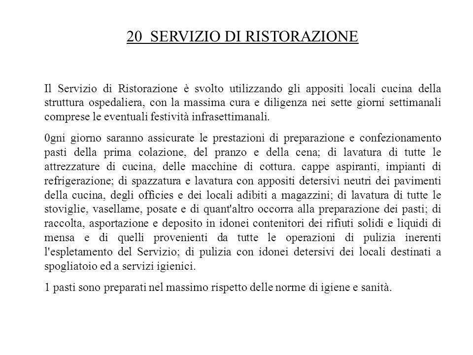 20 SERVIZIO DI RISTORAZIONE