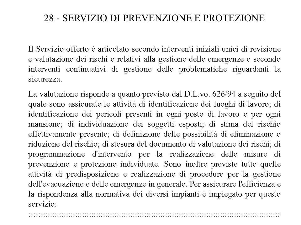 28 - SERVIZIO DI PREVENZIONE E PROTEZIONE
