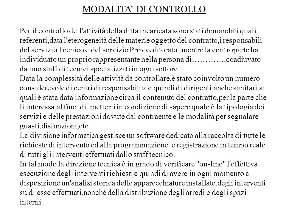 MODALITA' DI CONTROLLO