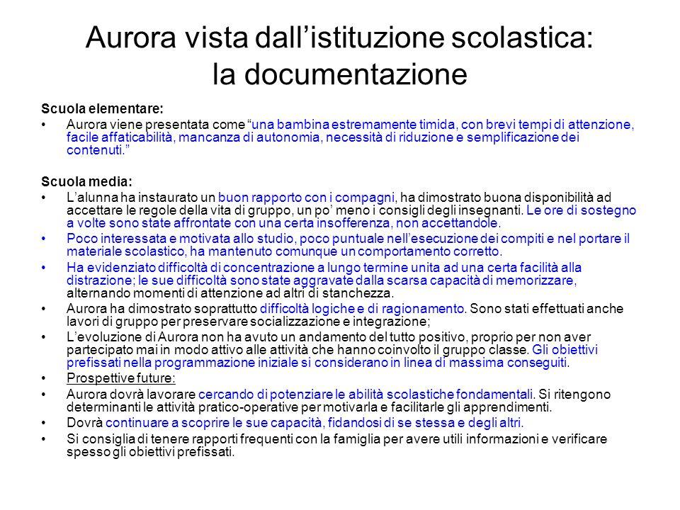 Aurora vista dall'istituzione scolastica: la documentazione