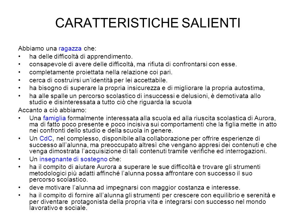 CARATTERISTICHE SALIENTI