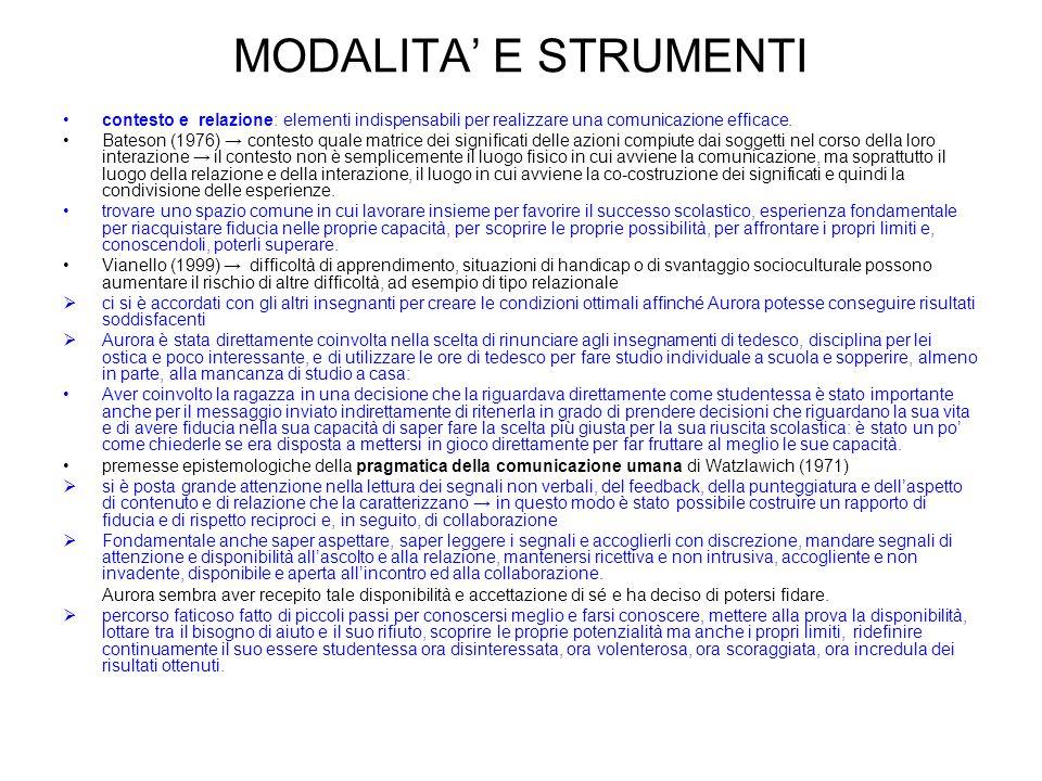 MODALITA' E STRUMENTI contesto e relazione: elementi indispensabili per realizzare una comunicazione efficace.