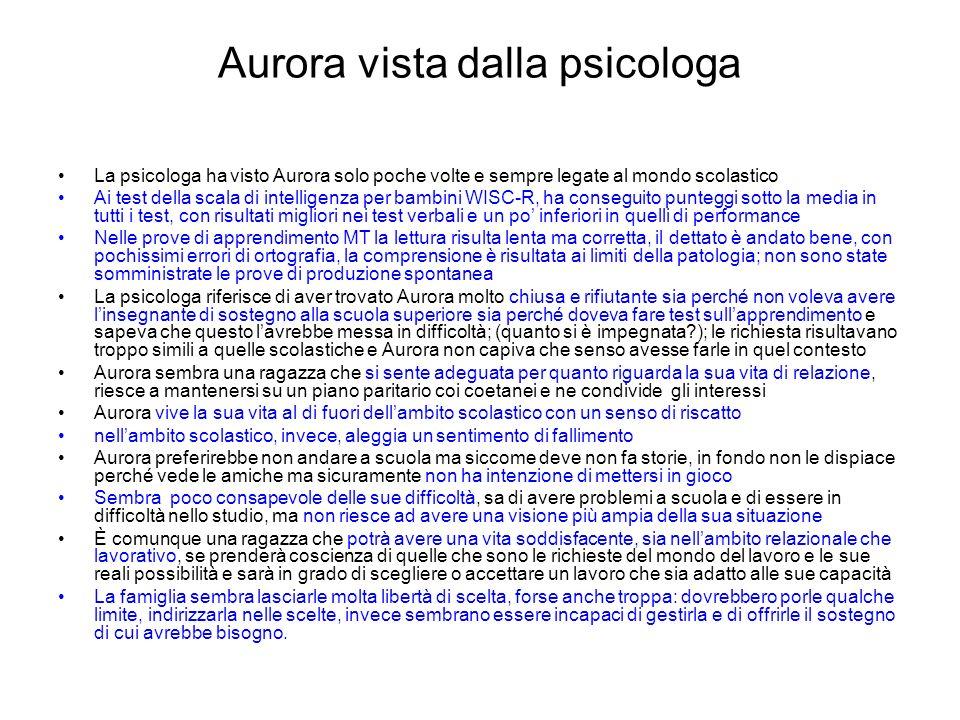 Aurora vista dalla psicologa