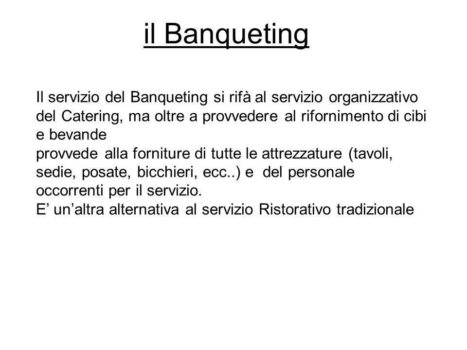 il Banqueting Il servizio del Banqueting si rifà al servizio organizzativo del Catering, ma oltre a provvedere al rifornimento di cibi e bevande.