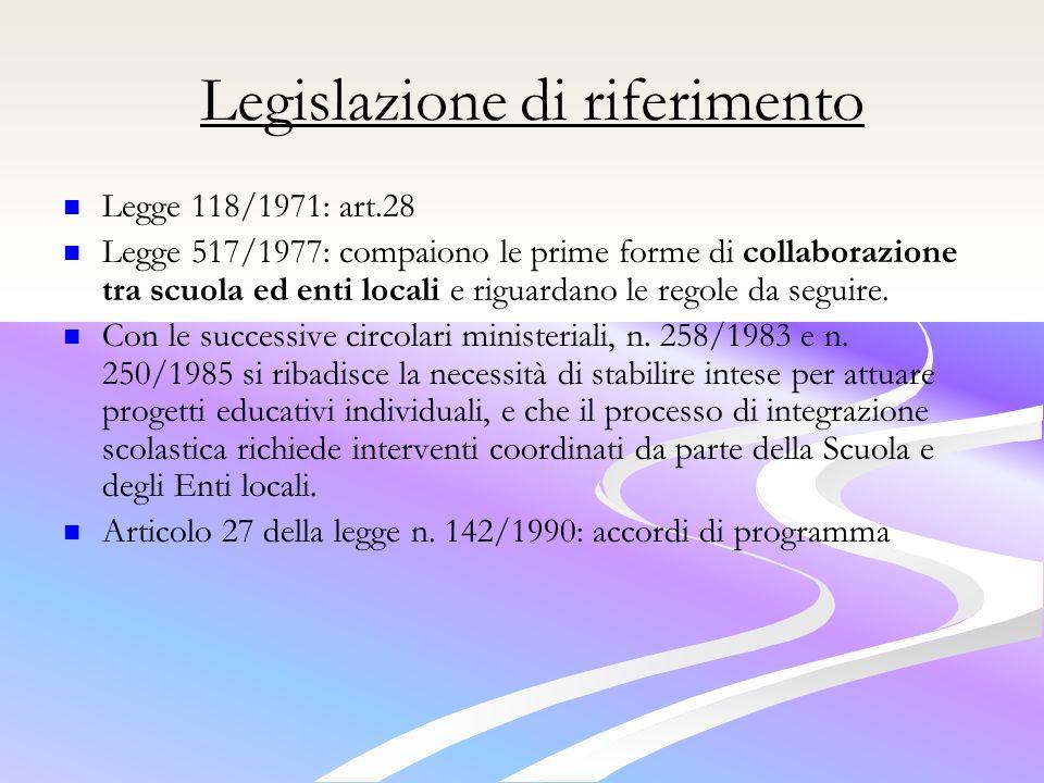 Legislazione di riferimento
