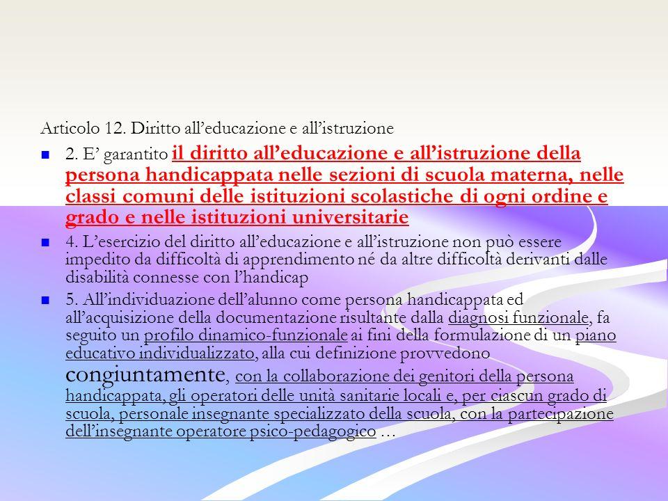 Articolo 12. Diritto all'educazione e all'istruzione