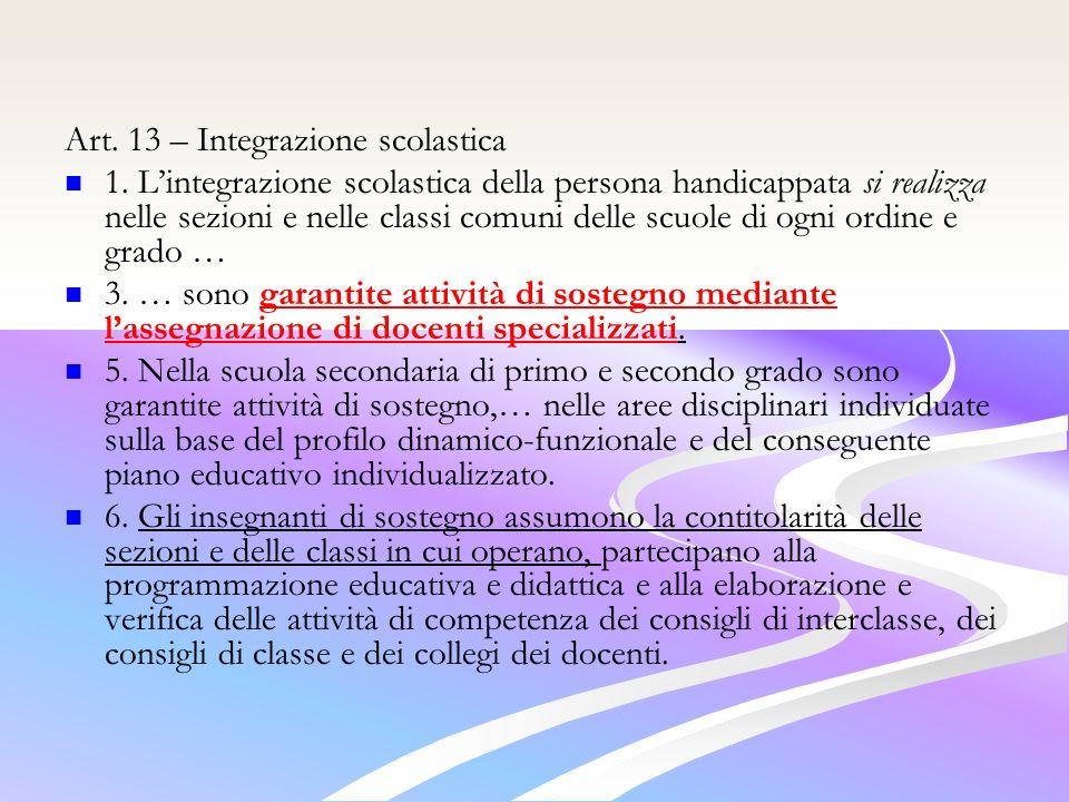Art. 13 – Integrazione scolastica