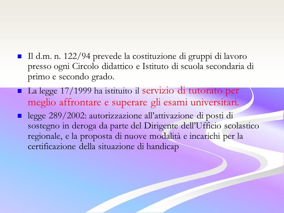 Il d.m. n. 122/94 prevede la costituzione di gruppi di lavoro presso ogni Circolo didattico e Istituto di scuola secondaria di primo e secondo grado.