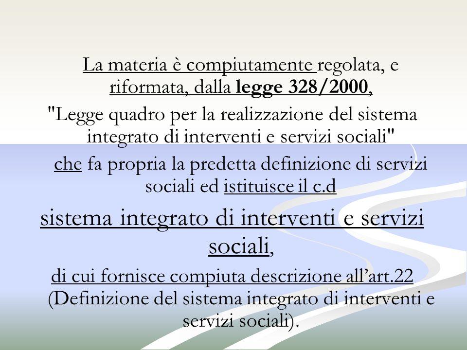 sistema integrato di interventi e servizi sociali,