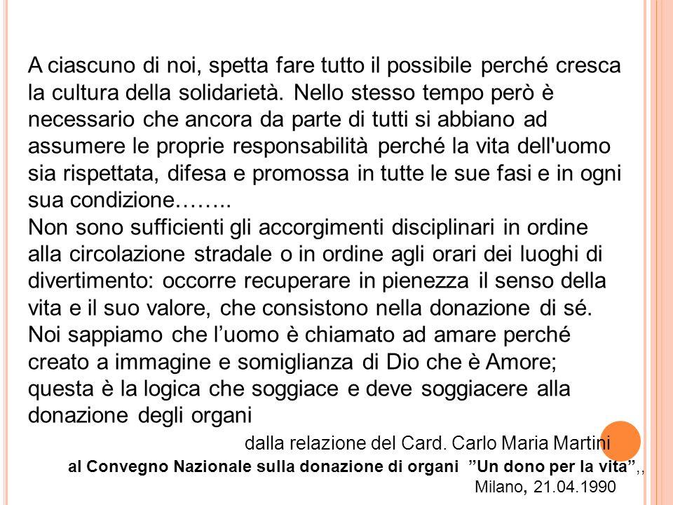 dalla relazione del Card. Carlo Maria Martini