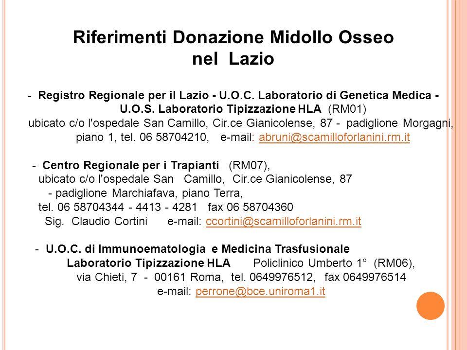 Riferimenti Donazione Midollo Osseo
