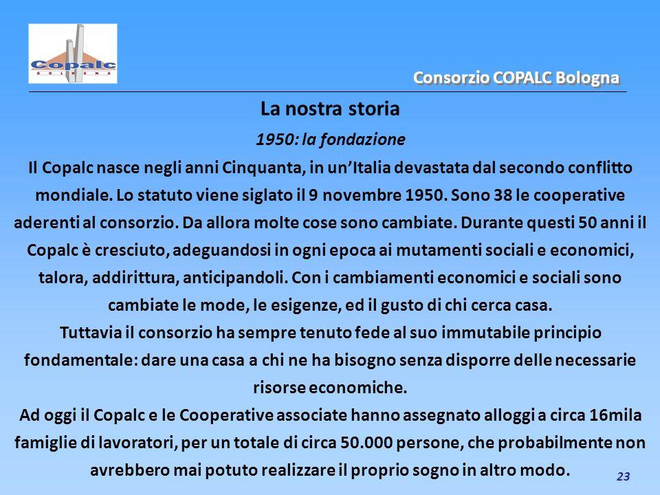 La nostra storia Consorzio COPALC Bologna 1950: la fondazione