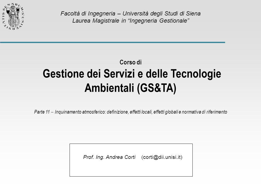 Gestione dei Servizi e delle Tecnologie Ambientali (GS&TA)