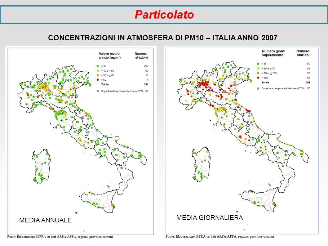 CONCENTRAZIONI IN ATMOSFERA DI PM10 – ITALIA ANNO 2007