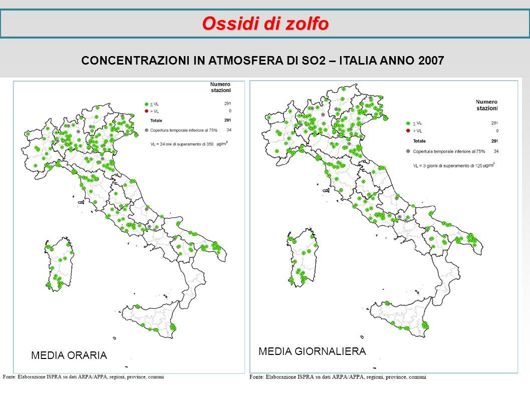 CONCENTRAZIONI IN ATMOSFERA DI SO2 – ITALIA ANNO 2007