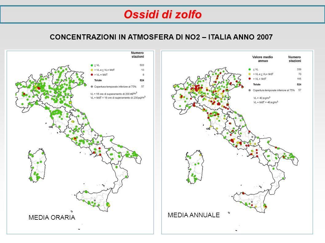 CONCENTRAZIONI IN ATMOSFERA DI NO2 – ITALIA ANNO 2007