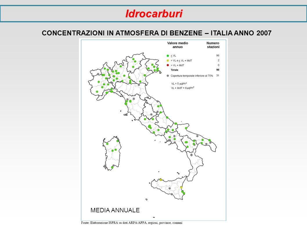 CONCENTRAZIONI IN ATMOSFERA DI BENZENE – ITALIA ANNO 2007