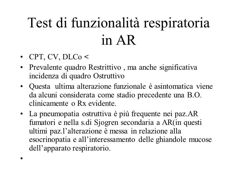 Test di funzionalità respiratoria in AR