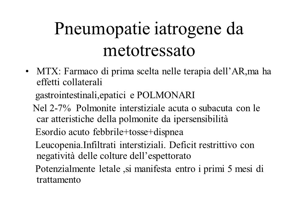 Pneumopatie iatrogene da metotressato