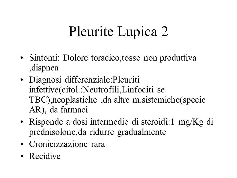 Pleurite Lupica 2 Sintomi: Dolore toracico,tosse non produttiva ,dispnea.