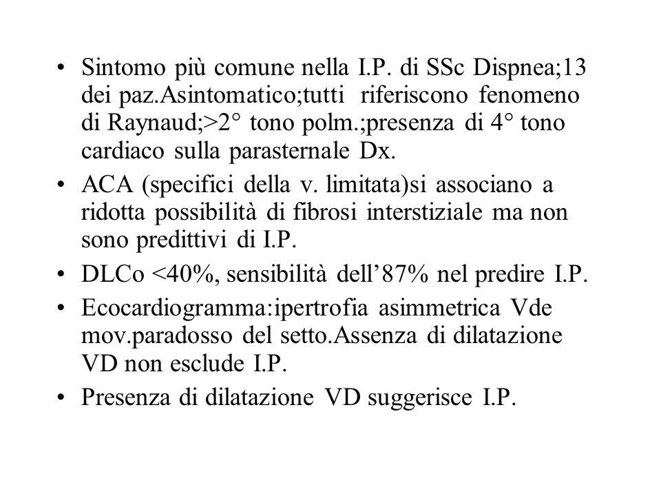 Sintomo più comune nella I. P. di SSc Dispnea;13 dei paz