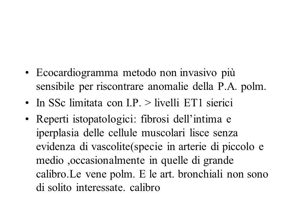 Ecocardiogramma metodo non invasivo più sensibile per riscontrare anomalie della P.A. polm.