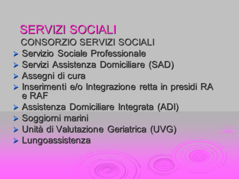 SERVIZI SOCIALI CONSORZIO SERVIZI SOCIALI