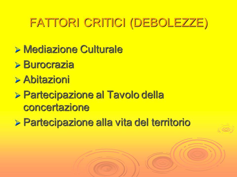 FATTORI CRITICI (DEBOLEZZE)