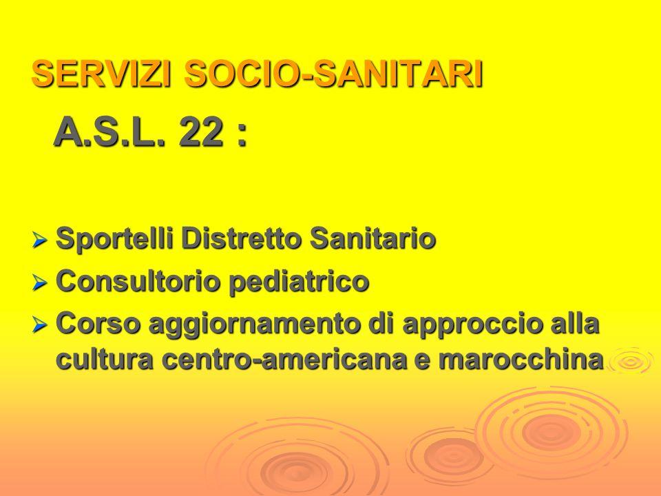 A.S.L. 22 : SERVIZI SOCIO-SANITARI Sportelli Distretto Sanitario