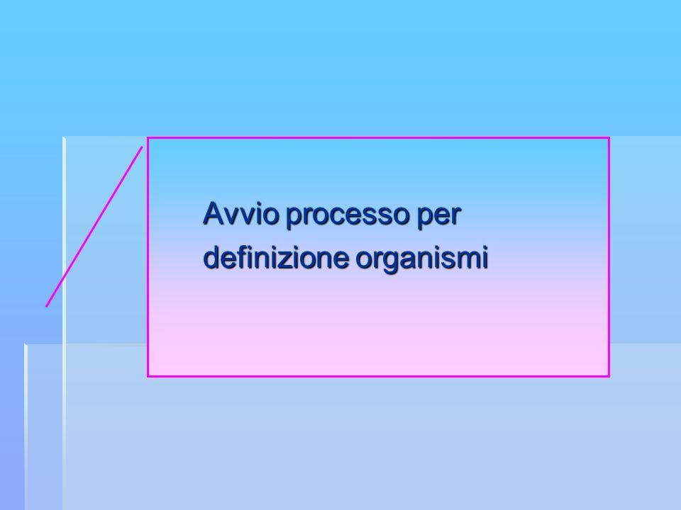 Avvio processo per definizione organismi