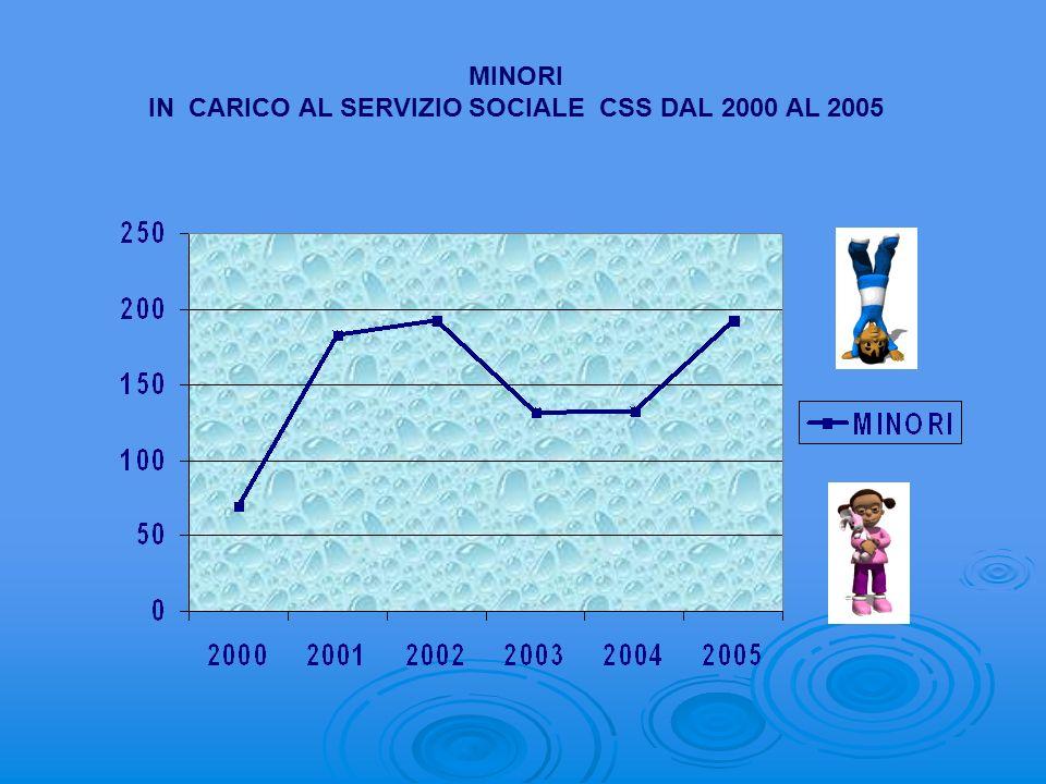 IN CARICO AL SERVIZIO SOCIALE CSS DAL 2000 AL 2005