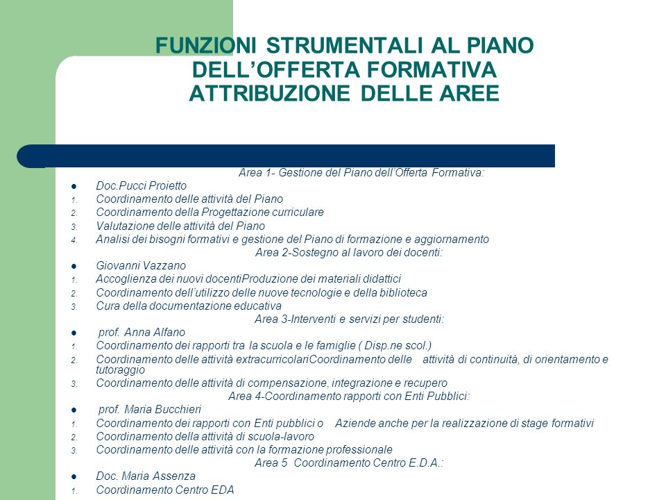 FUNZIONI STRUMENTALI AL PIANO DELL'OFFERTA FORMATIVA ATTRIBUZIONE DELLE AREE