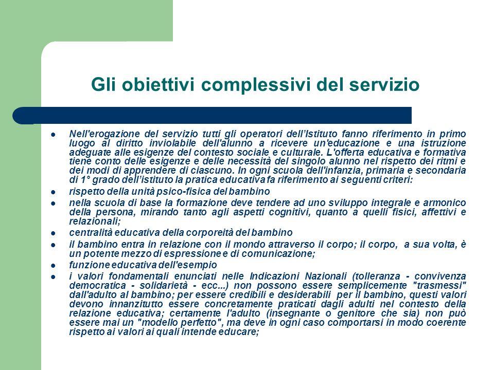 Gli obiettivi complessivi del servizio