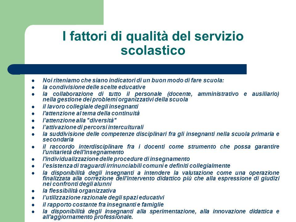 I fattori di qualità del servizio scolastico