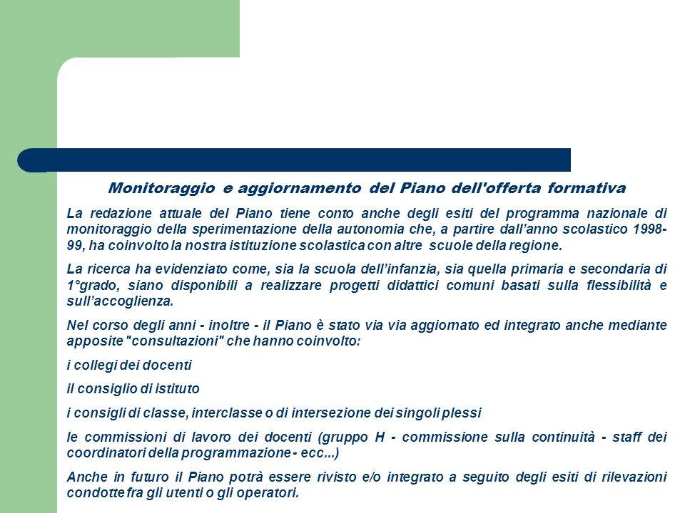 Monitoraggio e aggiornamento del Piano dell offerta formativa