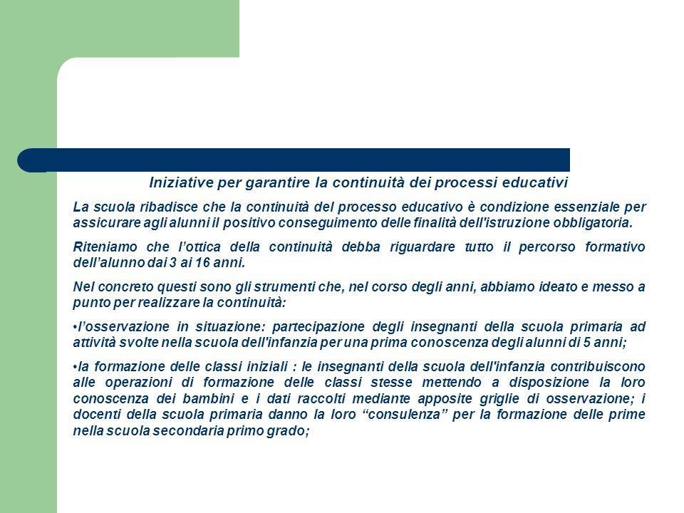 Iniziative per garantire la continuità dei processi educativi