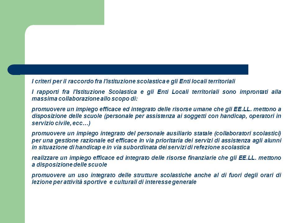 I criteri per il raccordo fra l istituzione scolastica e gli Enti locali territoriali
